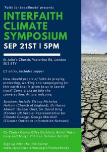 Faith For The Climate Symposium, 21st September 5pm, London @ St John's Church | London | United Kingdom