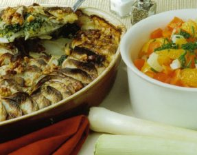 JVS image - Crunchy Leek and Potato Gratin served with a Fennel and Orange Salad