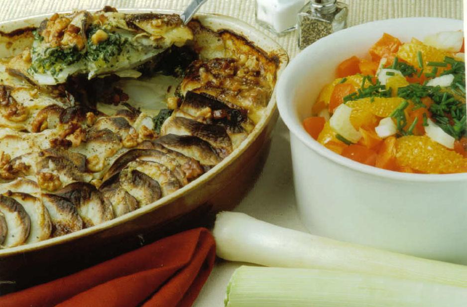 JVS image - Crunchy Leek and Potato Gratin served with a Fennel and Orange Salad