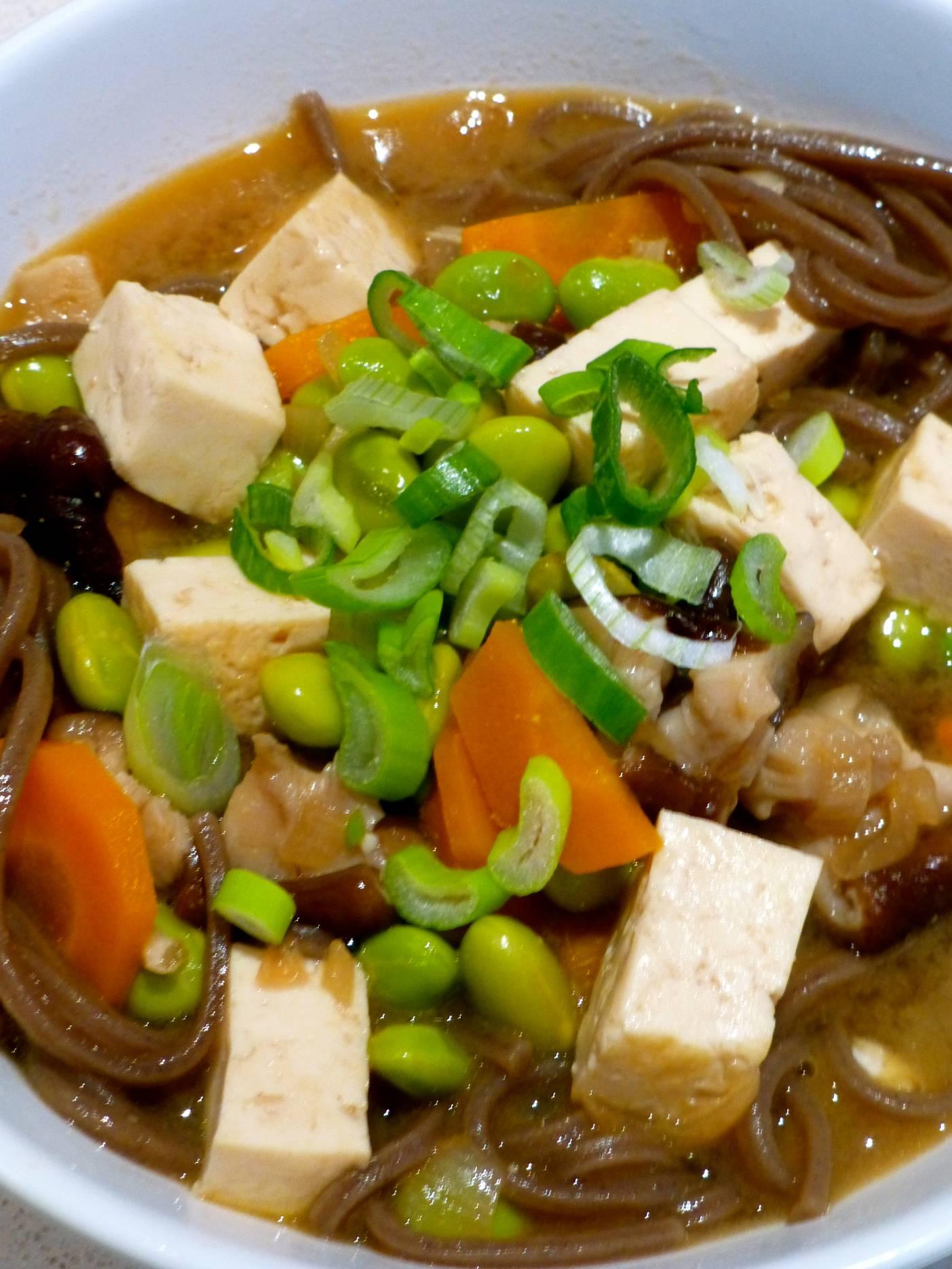 JVS image - Soba Miso Soup with Edamame, Shiitake & Tofu