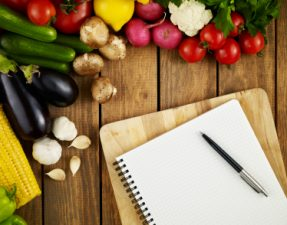 JVS image - blank recipe sheet with fruit and vegetables