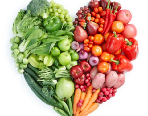 Fruit and veg in a heart shape