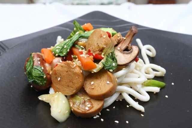Spicy 'Vegi Sausage' Stir Fry