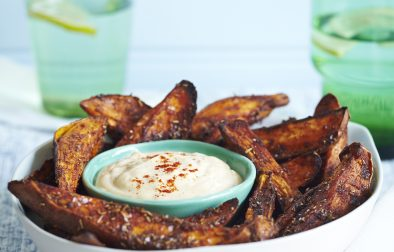 Spicy Sweet Potato Chips with Yogurt Satay