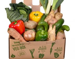 sda's wonky vegetable box contains vegetables which are misshapen, have growth cracks, or are a different size than average Asda