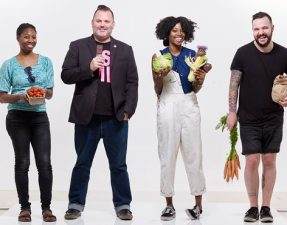 (from left) Diana Pinkett, Sean O'Callaghan, Denai Moore, Joseph Sheridan-Ruddy. Photograph: Suki Dhanda for the Observer