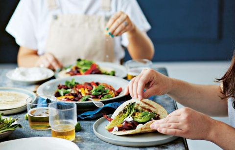 Roasted pepper fajitas make a fun, vegan meal. Photo: Dan Jones (from 15 minute vegan on a budget)