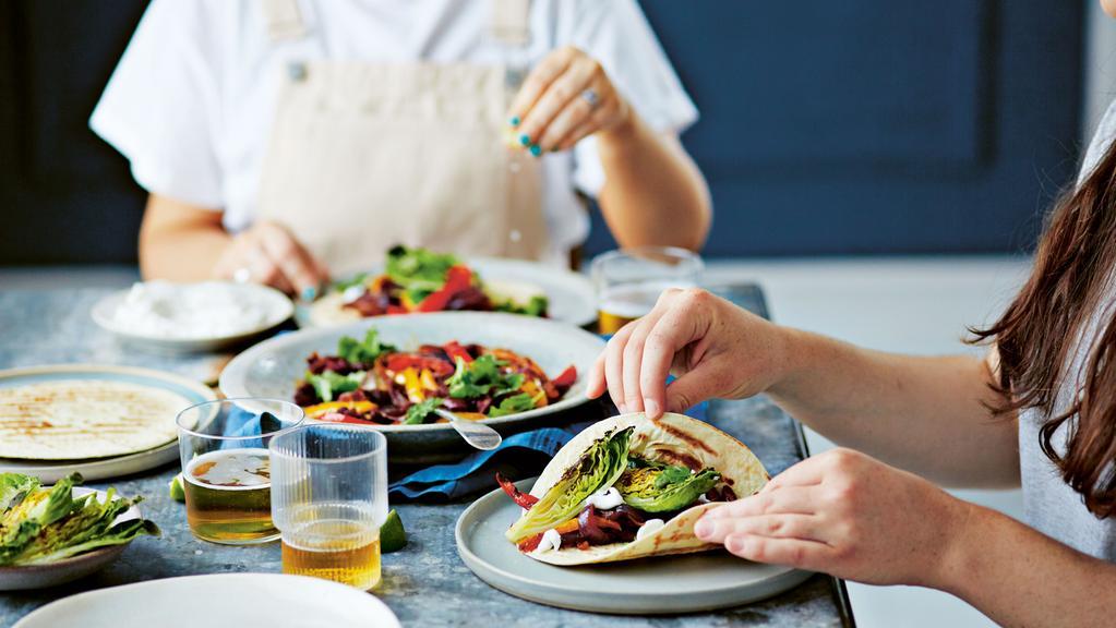 Roasted pepper fajitas make a fun, vegan meal. Photo: Dan Jones (from 15 minute vegan on a budget)