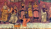Mural of Miriam, Moses, Yocheved and Bat-Pharoah / Bat-Ya from the incredible Dura Europos Synagogue in Syria, 244 CE. https://en.wikipedia.org/wiki/Dura-Europos_synagogue