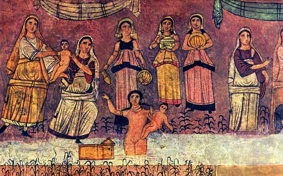 Mural of Miriam, Moses, Yocheved and Bat-Pharoah / Bat-Ya from the incredible Dura Europos Synagogue in Syria, 244 CE. https://en.wikipedia.org/wiki/Dura-Europos_synagogue