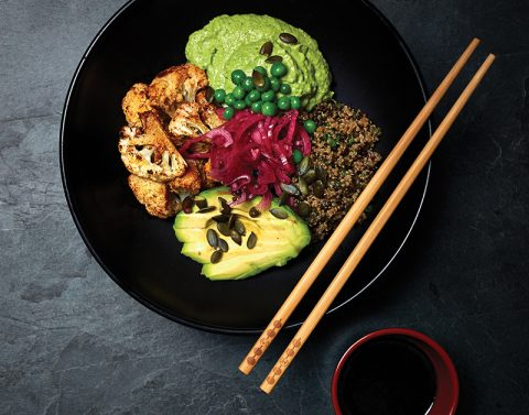 Buddha-Bowl-with-Chipotle-Cauliflower-and-Pea-Hummus-Quinoa-Pickled-Red-Onions-Pumpkin-Seeds